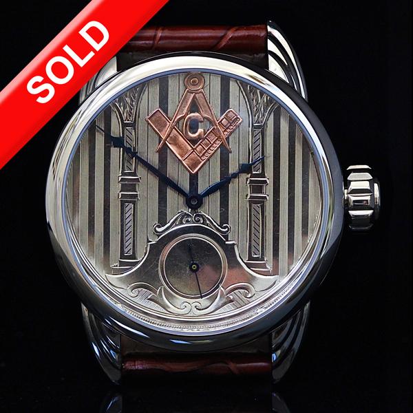 Art Deco Dial with 14kt rose gold Masonic emblem